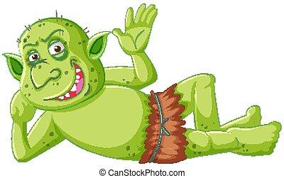 mosoly, karikatúra, troll, betű, fekvő, lidérc, lefelé, zöld...