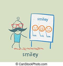 mosoly, kiállítás, bemutatás, ember