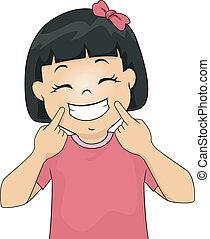 mosoly, leány, gesztus