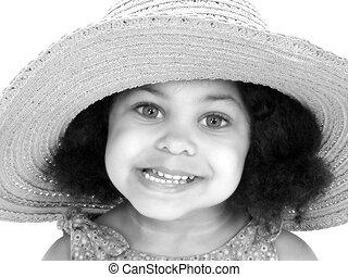 mosoly, leány, kalap, gyermek