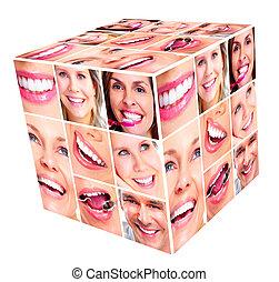 mosoly, nő, köb, collage.