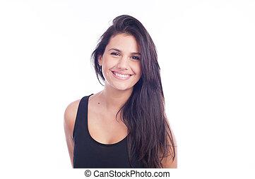 mosoly, nő, -, természetes