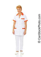 mosoly, vagy, orvos, női öregedő, ápoló