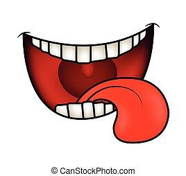 mosoly, vektor, száj, ajkak, fog, elszigetelt, karikatúra, white háttér, tongue., ábra