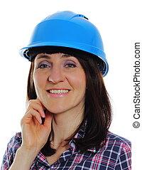 mosolygós, építő, nő, fárasztó, oltalmazó, kék, sisak