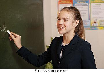 mosolygós, öregedő, kérdezés, chalkboard, diák, feladat, tanár, matek