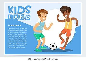 mosolygós, aktivál, fiú, játék futball, gyerekek, vidék, transzparens, lakás, vektor, elem, helyett, website, vagy, mozgatható, app