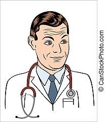 mosolygós, barátságos orvos