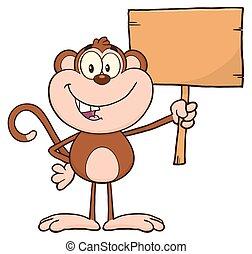 mosolygós, betű, majom, karikatúra