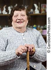 mosolygós, bot, nagyanyó
