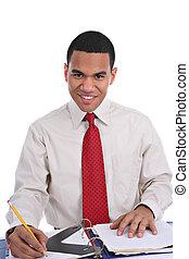 mosolygós, fiatal, african american hím, dolgozó, alatt, hivatal