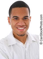 mosolygós, fiatal, african american hím, headshot