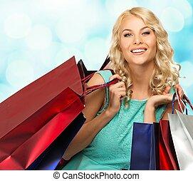 mosolygós, fiatal, szőke, nő, noha, bevásárol táska, felett, elken háttér