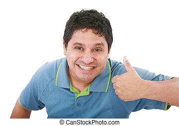 mosolygós, fiatalember, noha, remek, képben látható, egy, elszigetelt, white háttér
