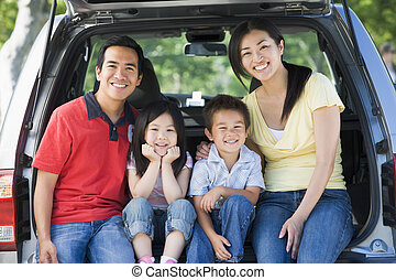 mosolygós, furgon, hát, család, ülés