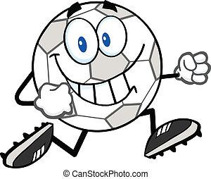 mosolygós, futball, futás, labda