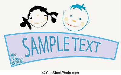 mosolygós, gyerekek, noha, transzparens