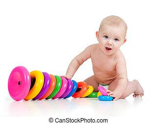 mosolygós, gyermekek játék, noha, szín, játékszer