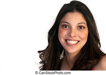 mosolygós, hispanic woman