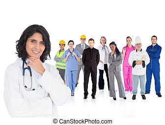 mosolygós, különféle, munkás, orvos