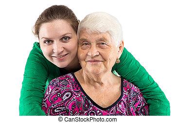 mosolygós, lányunoka, nagyanyó