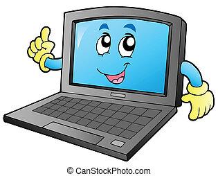 mosolygós, laptop, karikatúra