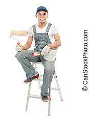 mosolygós, munkás, szobafestő