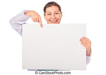 mosolygós, orvos, lényeg, üres, tiszta, poszter