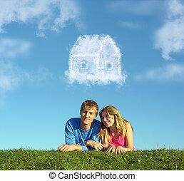 mosolygós, párosít, képben látható, fű, és, álmodik, felhő, épület, kollázs