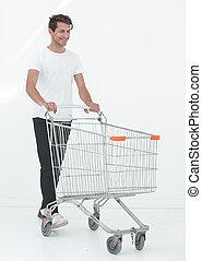 mosolygós, rámenős, bevásárlás, cart., ember