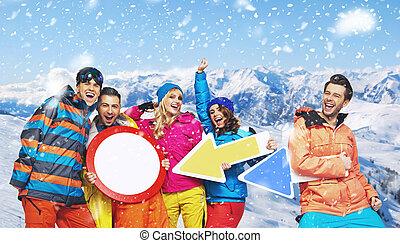 mosolygós, snowboarders, alatt, egy, furcsa, beállít