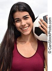 mosolygós, spanyol, tízenéves kor, atléta, női, futball játékos
