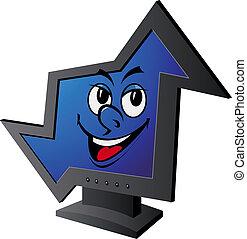 mosolygós, számítógép, bemutatás