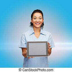 mosolygós, tabletta, orvos, számítógép, női, ápoló, vagy