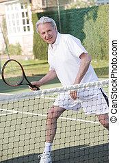 mosolygós, tenisz, játék, ember