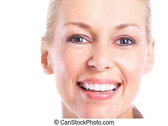 mosolygós, woman., boldog