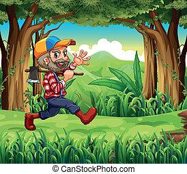 mosolygós, woodman, erdő, birtok, fejsze