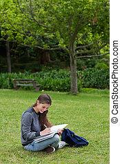 mosolygós, young felnőtt, komolyan, írás, képben látható, neki, jegyzetfüzet, időz, ül ül, alatt, egy, liget