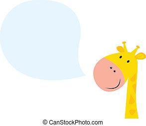 mosolygós, zsiráf, fej, sárga