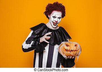 mosolyog bábu, öltözött, alatt, ijedős, bohóckodik, halloween kosztüm