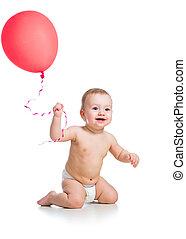 mosolyog csecsemő, fiú, noha, piros, ballon, alatt, övé, kéz, elszigetelt, white