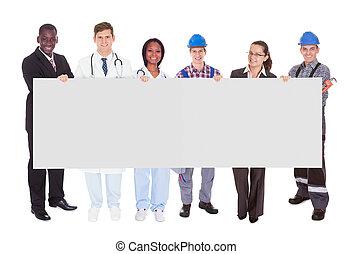 mosolyog emberek, noha, különféle foglalkozás, birtok, tiszta, hirdetőtábla