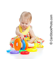 mosolyog kicsi lány, játék, noha, szín, játékszer