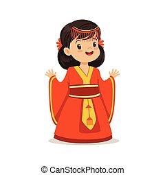 mosolyog lány, fárasztó, piros ruha, nemzeti, jelmez, közül, kína, színes, betű, vektor, ábra