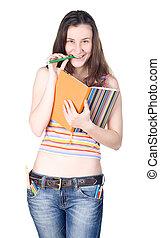 mosolyog lány, noha, jegyzetfüzet, csípős, ceruza