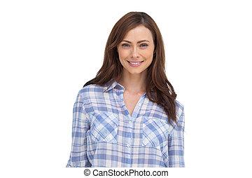 mosolyog woman, álló, előtt, a, fényképezőgép