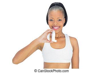 mosolyog woman, birtok, asthma inhaler, időz, külső külső fényképezőgép