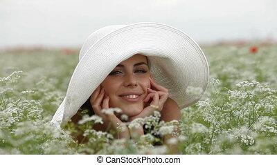 mosolyog woman, fiatal, arc