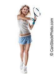 mosolyog woman, noha, egy, tennis racquet, elszigetelt, white