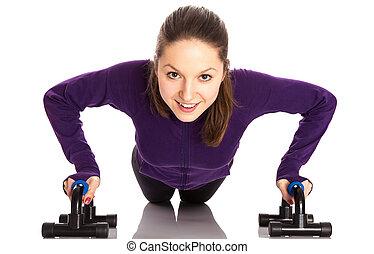 mosolyog woman, push-ups